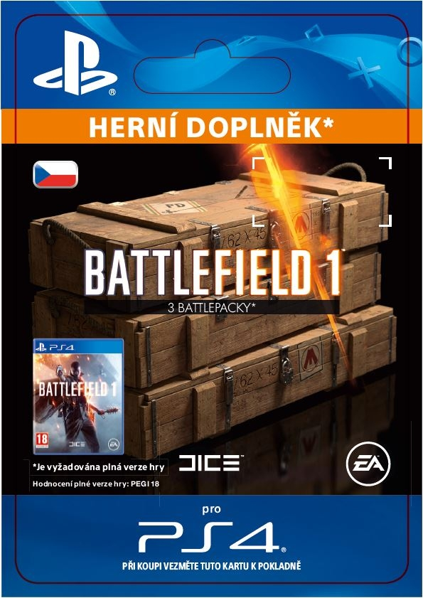 Battlefield 1 - 3x Battlepacks (PS4 DIGITAL)