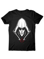 Tričko Assassins Creed - Black Hooded Assassin (velikost L)