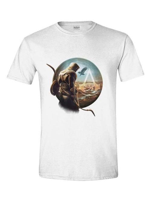 Tričko Assassins Creed: Origins - Bayek bílé (velikost M)