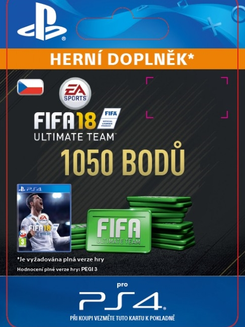 1050 FIFA 18 Points Pack - předplacená karta (PS4 DIGITAL)