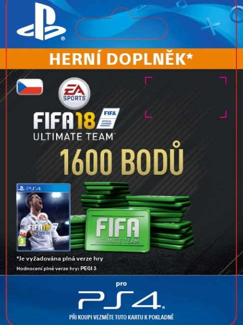 1600 FIFA 18 Points Pack - předplacená karta (PS4 DIGITAL)