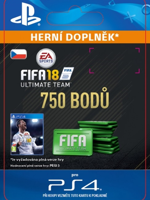 750 FIFA 18 Points Pack - předplacená karta (PS4 DIGITAL)