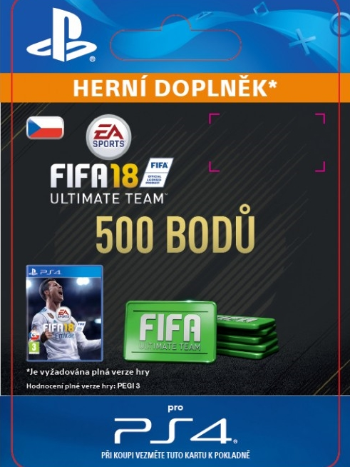 500 FIFA 18 Points Pack - předplacená karta (PS4 DIGITAL)