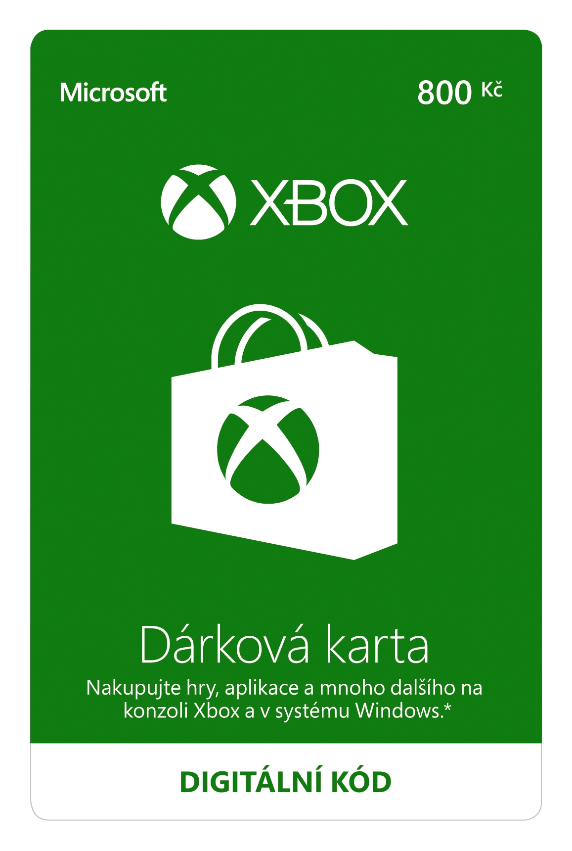 Dárková karta Xbox 800 Kč (XONE DIGITAL)