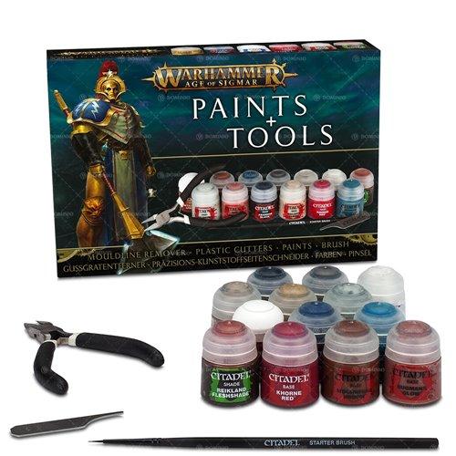 Barvící sada Citadel Age of Sigmar Paints + Tools (13 barev, štětec, pilník, kleště) (PC)
