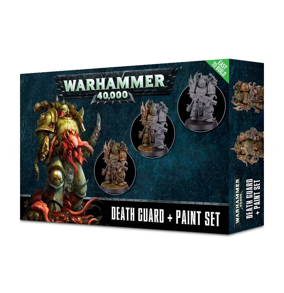 Warhammer 40.000 - Citadel Death Guard + Paint Set (3 figurky, 6 barev a štětec) (PC)
