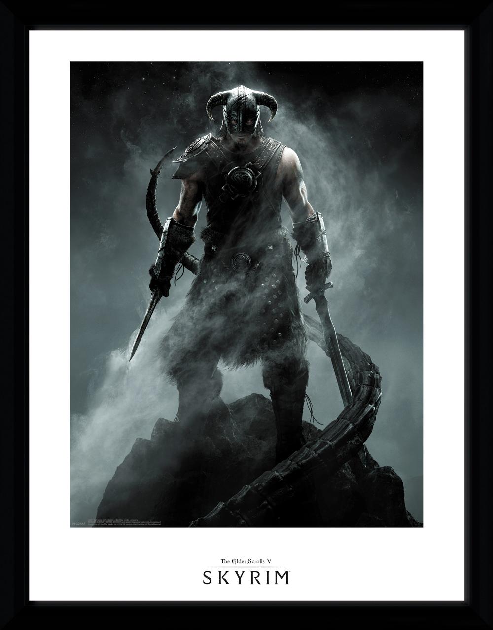 Zarámovaný plakát Skyrim - Dragonborn (PC)
