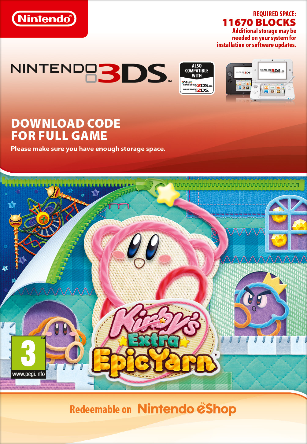 Kirby's Extra Epic Yarn (3DS) DIGITAL (PC)