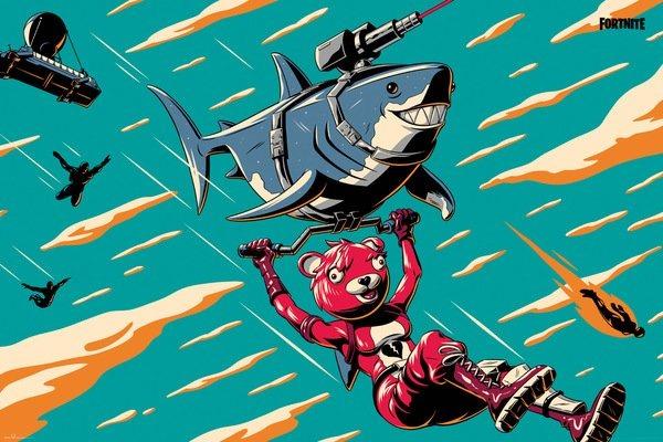 Plakát Fortnite - Laser Shark (PC)