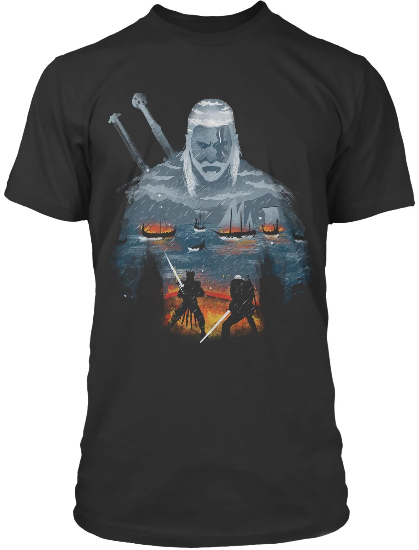 Tričko Zaklínač - Geralt and Eredin (americká vel. XL / evropská XXL) (PC)