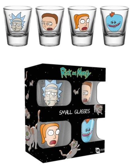 Skleničky Rick and Morty - Faces (set 4 ks panáků) (PC)