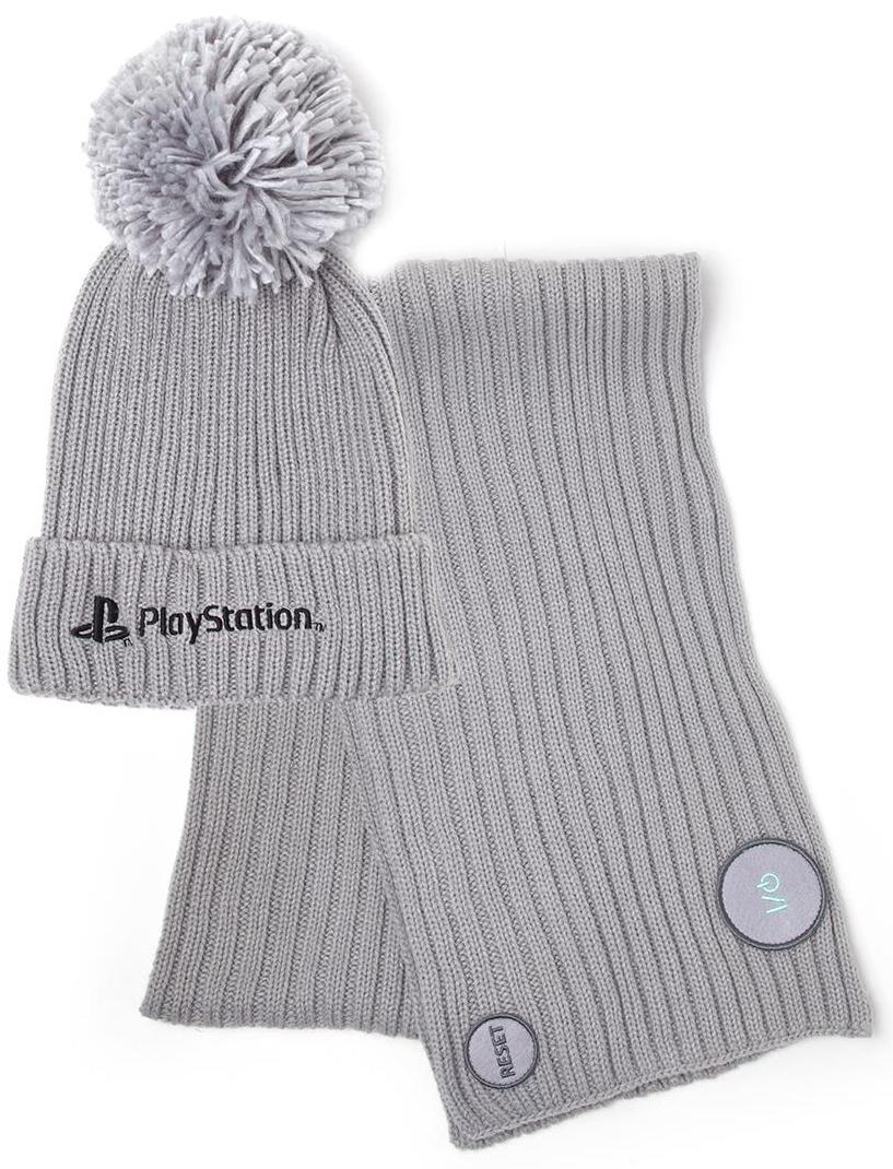 Čepice se šálou PlayStation - Silver (PC)