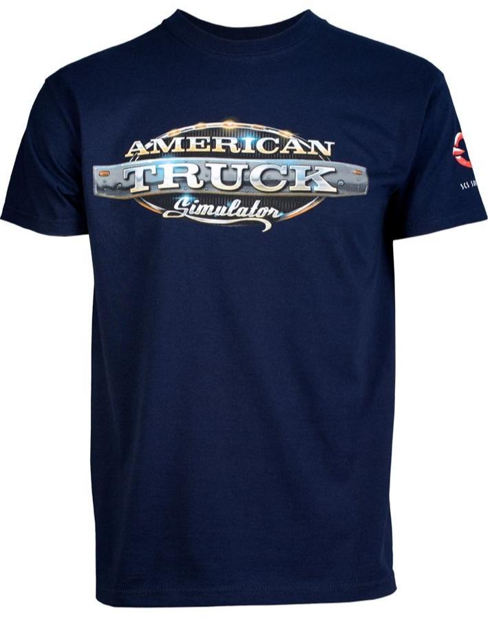 Tričko American Truck Simulator - Modré s logem (velikost L) (PC)