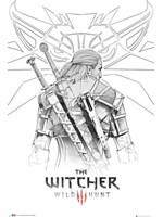 Plakát Zaklínač - Geralt Sketch