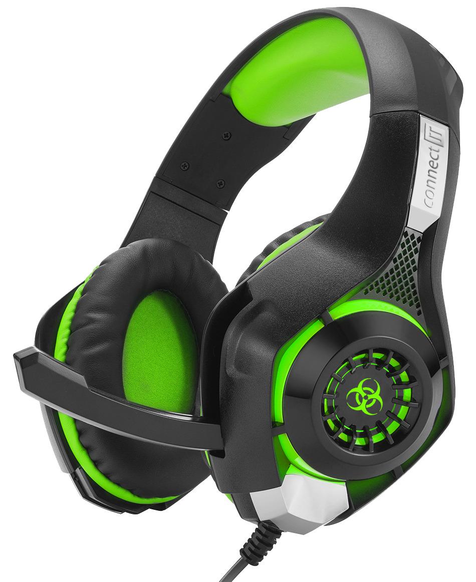 Herní sluchátka Connect IT Biohazard (zelené) (PC)