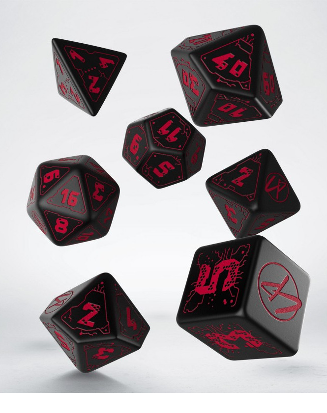 Kostky Cyberpunk - Red RPG Set (černé)