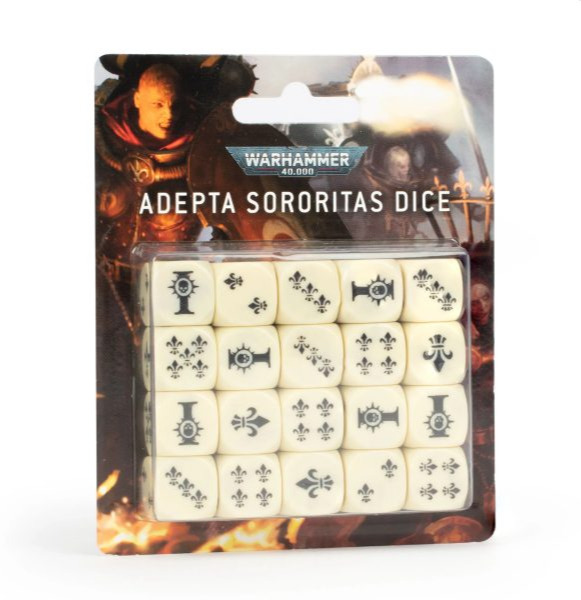 Kostky Warhammer Adepta Sororitas (20 ks), šestistěnné - bílé