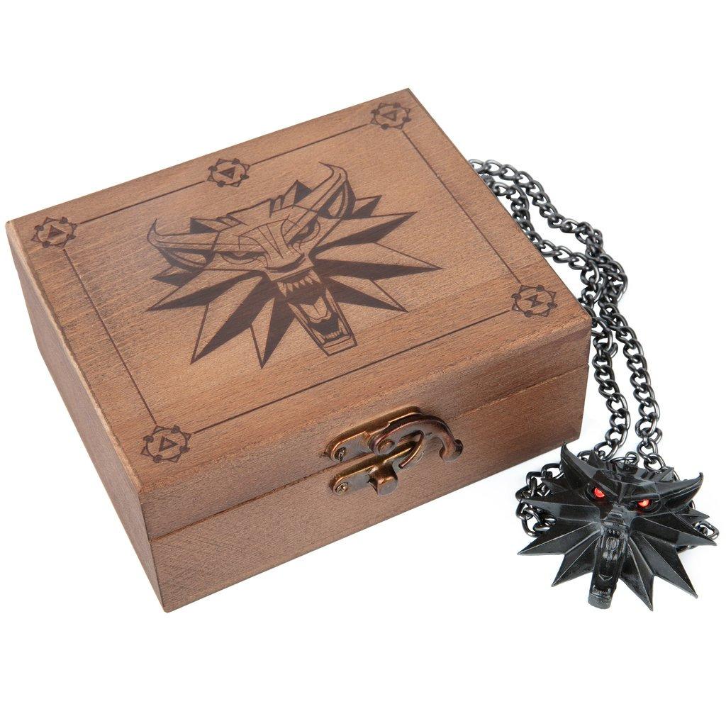 Medailon na krk Zaklínač 3 - Vlk s dřevěnou krabičkou (svítící oči)