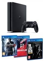 Konzole PlayStation 4 Slim 1TB + Uncharted 4, Driveclub, The Last of Us (PS4) + Ovladač zdarma jako dárek!