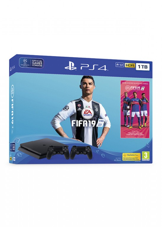 Konzole PlayStation 4 Slim 1TB + FIFA 19 + 2x ovladač (PS4)