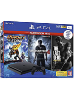 Konzole PlayStation 4 Slim 1TB + Uncharted 4, The Last of Us, Ratchet & Clank (rozbalená krabice)
