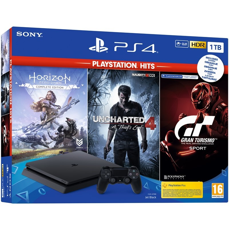 Konzole PlayStation 4 Slim 1TB + Uncharted 4, Horizon: Zero Dawn CE, Gran Turismo Sport (PS4)