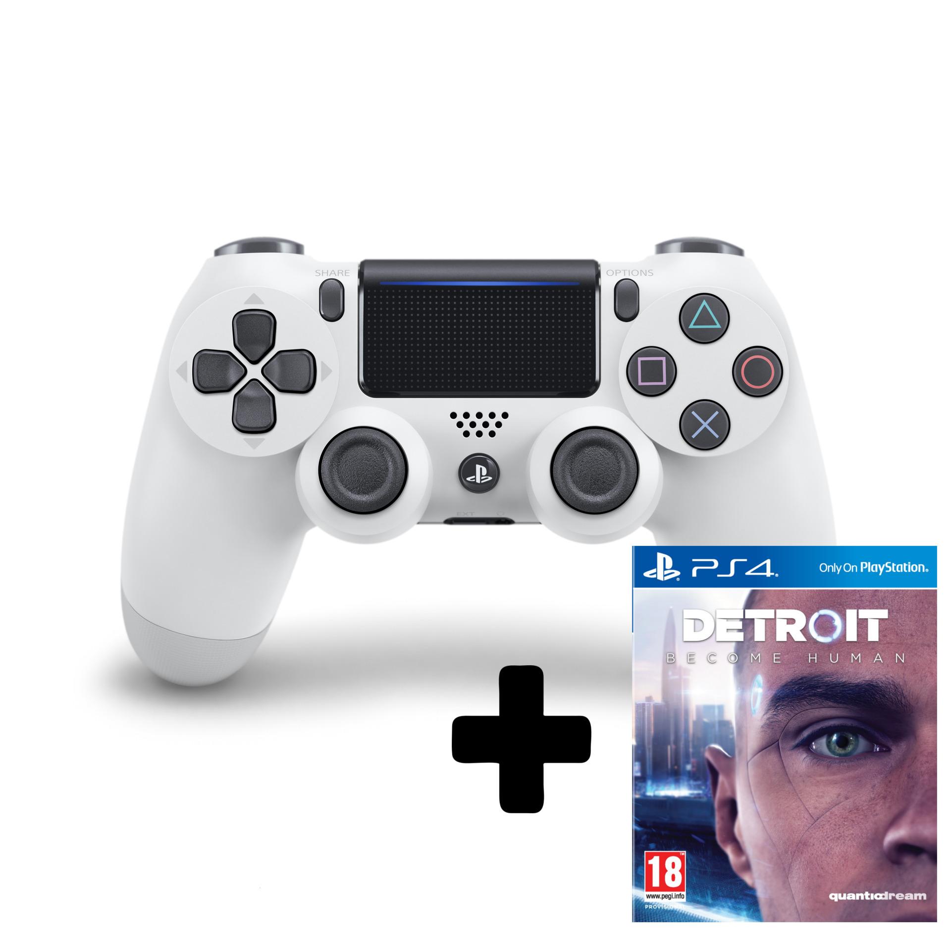 DualShock 4 ovladač - Bílý V2 + Detroit: Become Human (PS4)
