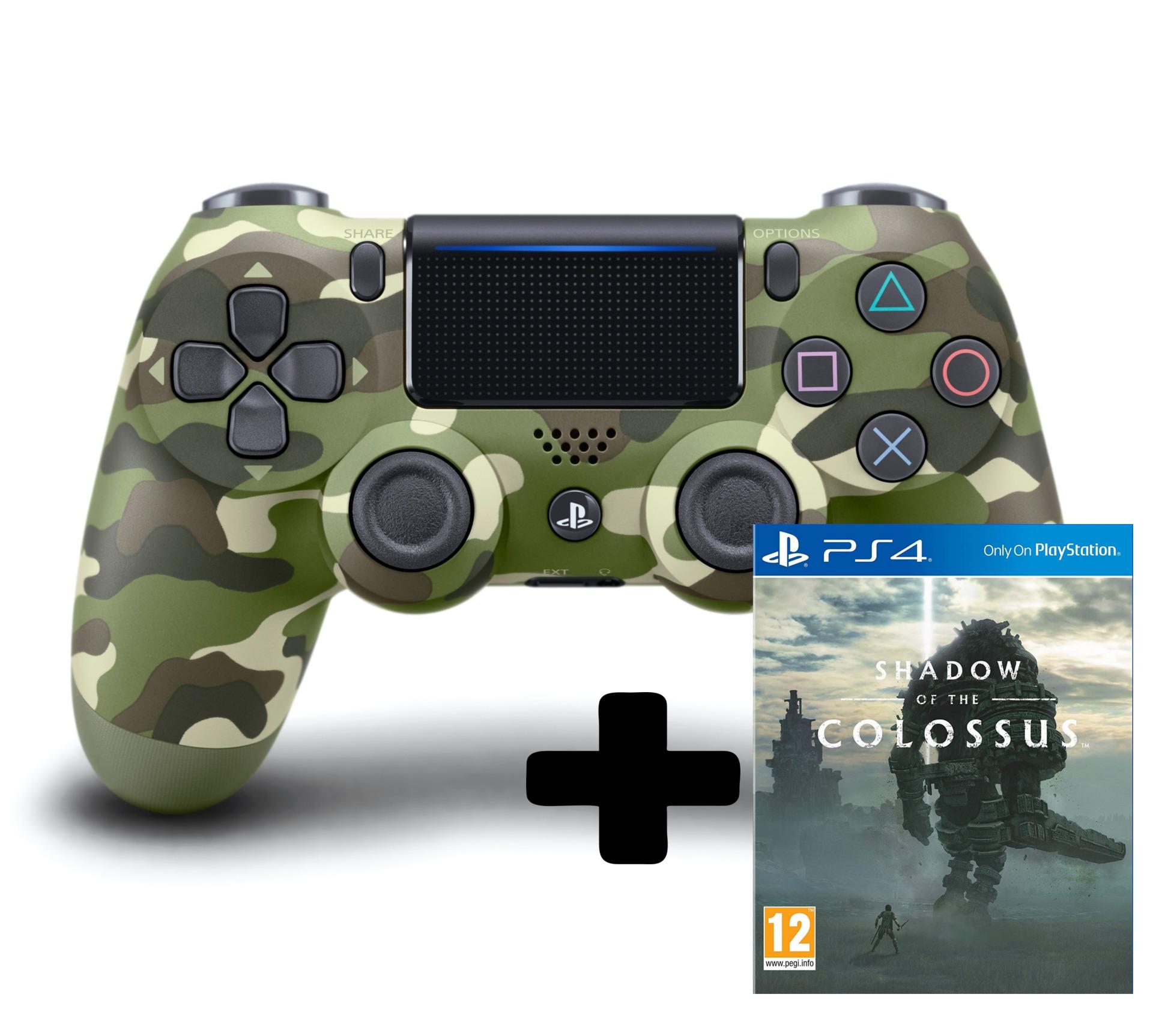DualShock 4 ovladač - Green Cammo V2 + Shadow of the Colossus (PS4)