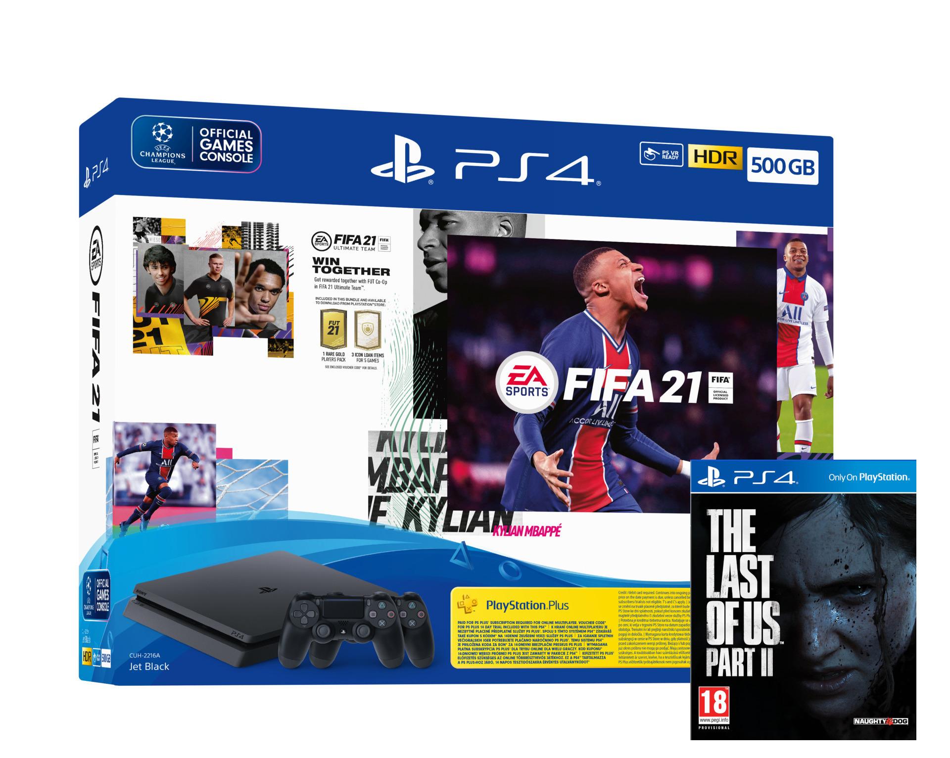Konzole PlayStation 4 Slim 500GB + FIFA 21 + TLOU2 + 2x ovladač (PS4)