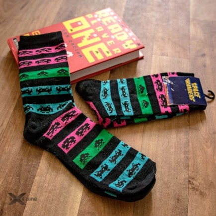 Space Invaders - Neon Colors Crew Socks