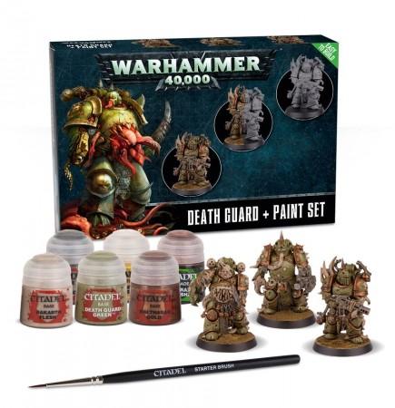 Warhammer 40.000 - Citadel Death Guard + Paint Set (3 figurky, 6 barev a štětec)