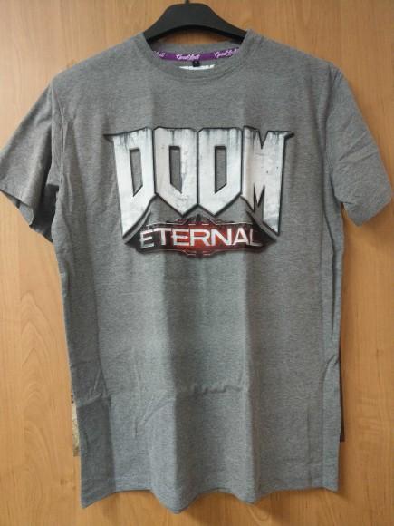 Tričko Doom: Eternal - Logo, světle šedé (velikost M)