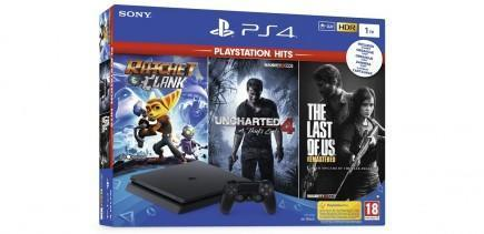 Konzole PlayStation 4 Slim 1TB + Uncharted 4, The Last of Us, Ratchet & Clank (PS4)
