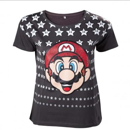 Tričko dámské Super Mario - Mario with Stars (velikost S)