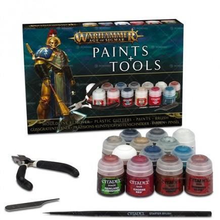 Barvící sada Citadel Age of Sigmar Paints + Tools (13 barev, štětec, pilník, kleště)