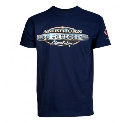 Tričko American Truck Simulator - Modré s logem (velikost L)