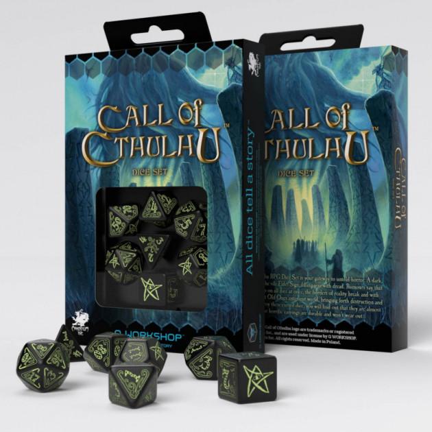 Kostky Call of Cthulhu - černé (svítící)