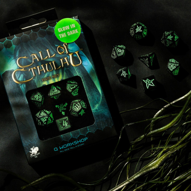 Call of Cthulhu Dice Black and glow-in-the-dark Dice Set