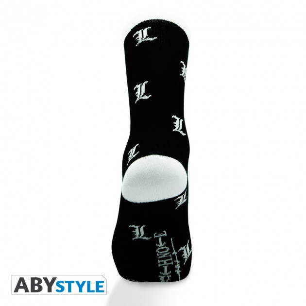 DEATH NOTE - Socks - Black and White - L