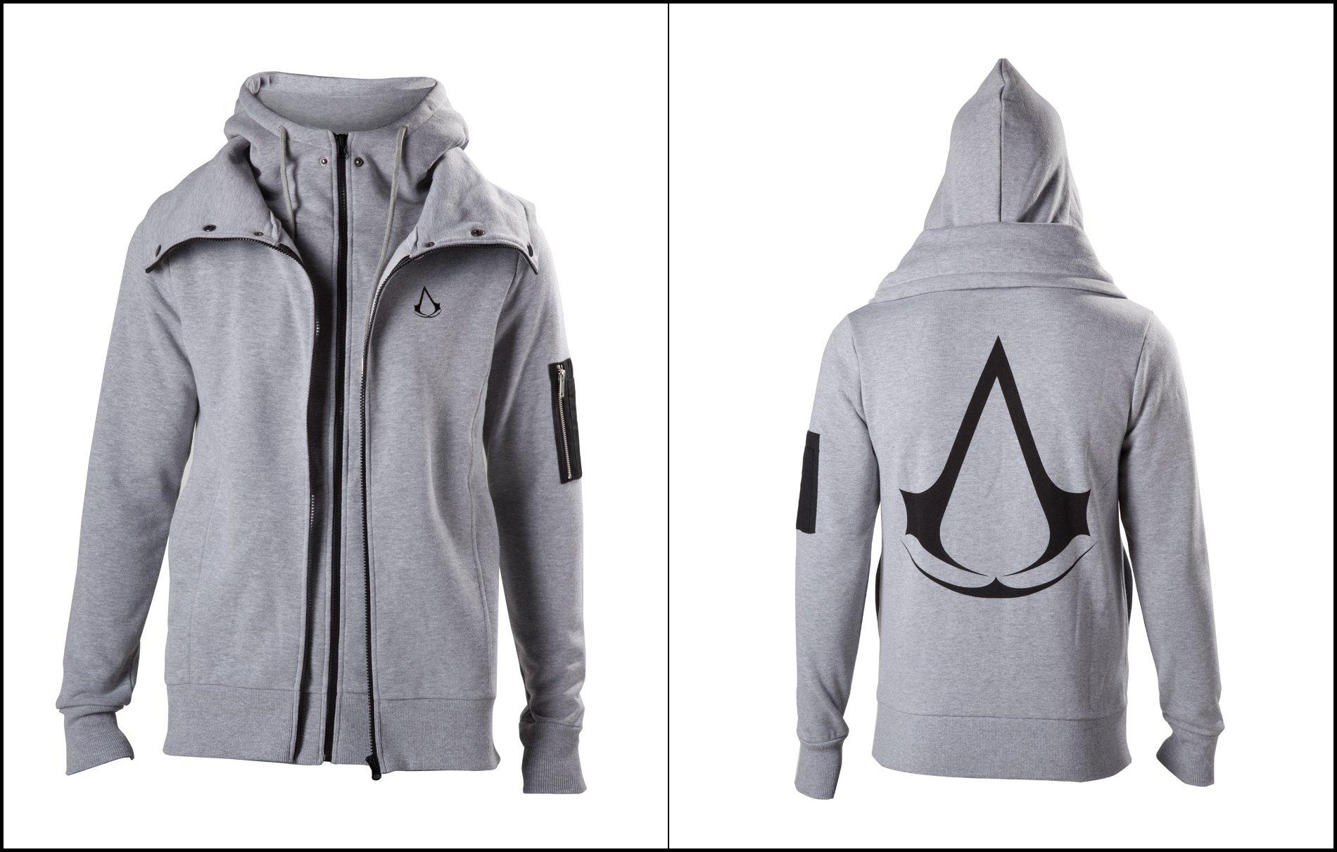 Originální šedá mikina s logem Assassins Creed a dvojitým zipem. c4fd69317b7