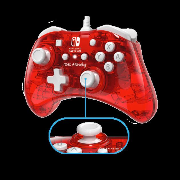 Ovladač drátový PDP Rock Candy pro Nintendo Switch - Stormin Cherry