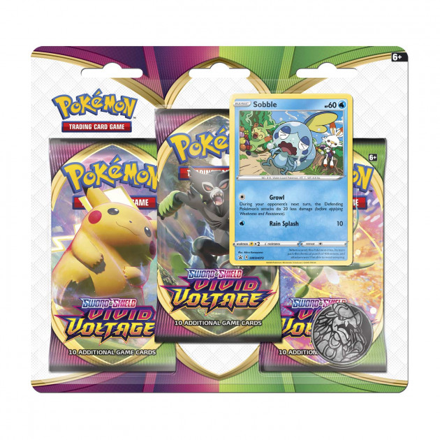 Karetní hra Pokémon TCG: Sword and Shield Vivid Voltage - 3-Pack Blister Booster (Sobble)