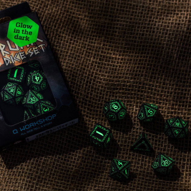 Runic Black and glow-in-the-dark Dice Set