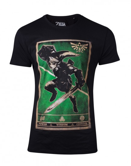 Tričko The Legend of Zelda - Propaganda Link Triforce (velikost L)