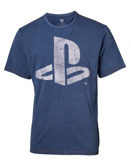 Tričko PlayStation - Faux Denim Logo (velikost XXL)